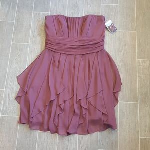 Davids Bridal Rose Wood Crinkle Chiffon  Dress